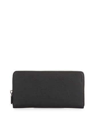 Saffiano Leather Zip-Around Travel Wallet, Black