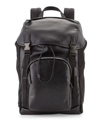 Men's Double-Buckle Backpack, Black
