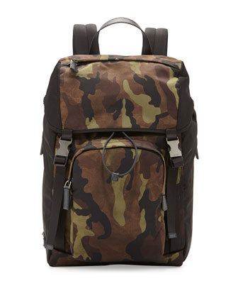 Men's Camouflage-Print Nylon Backpack, Green