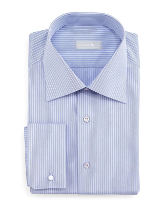 Narrow-Stripe Dress Shirt, Navy