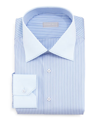 Contrast-Collar Narrow-Stripe Dress Shirt, Light Blue
