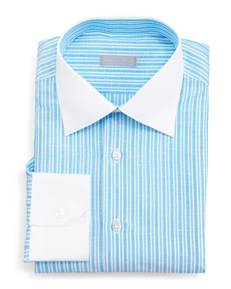 Contrast-Collar Narrow-Stripe Dress Shirt, Aqua