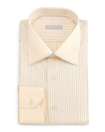 Contrast-Collar Striped Dress Shirt, Yellow