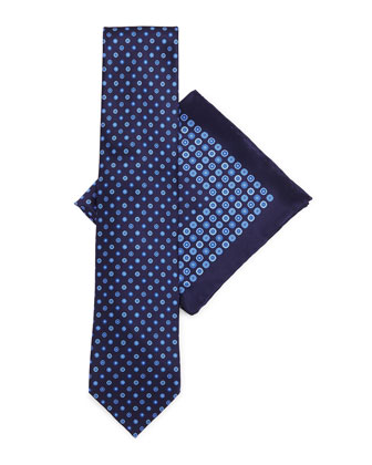 Silk Tie & Pocket Square Set, Dark Blue