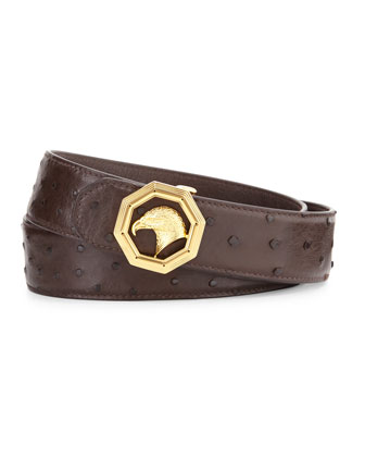 Eagle-Head Ostrich Leather Belt, Brown