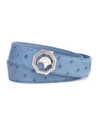 Eagle-Head Ostrich Leather Belt, Blue
