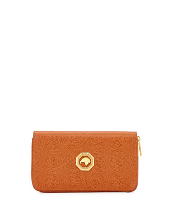 Zip-Around Leather Travel Wallet, Tan