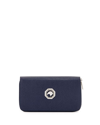 Zip-Around Leather Travel Wallet, Blue