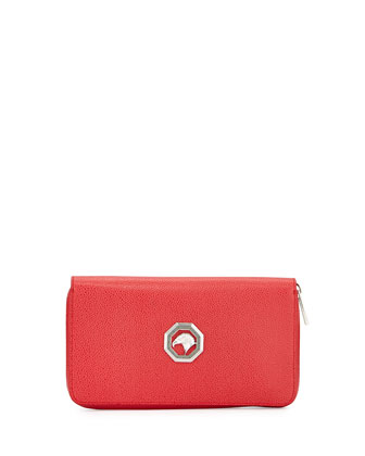 Zip-Around Leather Travel Wallet, Red