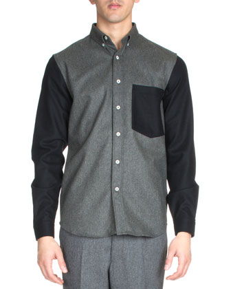 Long-Sleeve Colorblock Shirt, Light Gray