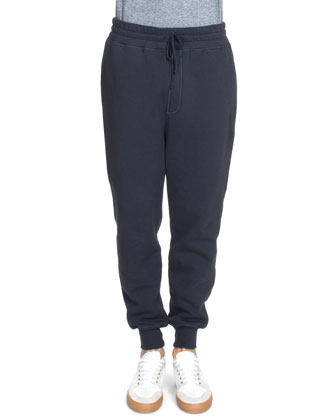 Drawstring Knit Sweatpants, Navy