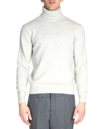 Wool Turtleneck Sweater, Light Gray