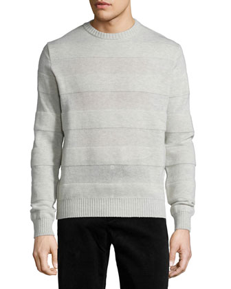Intarsia Striped Crewneck Sweater, Gray