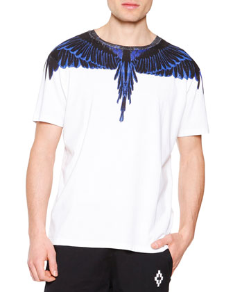 Blue Feathers Graphic Tee, White