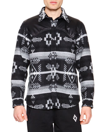 Printed Wool Shirt with Leather Detail, Dark Gray