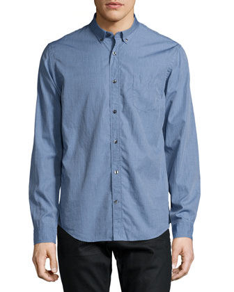 Melrose End-on-End Woven Shirt, Indigo