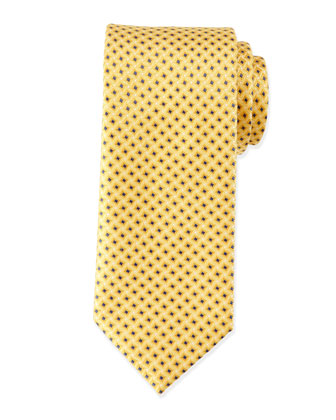 Dotted and Box-Print Neat Tie, Light Blue