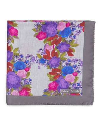 Watercolor-Floral Silk Pocket Square, Gray