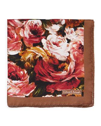 Rose-Print Silk Pocket Square, Brown