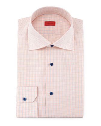 Line-Graph Woven Shirt, Orange/Blue
