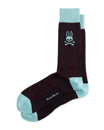 Matrix Chevron Socks, Navy