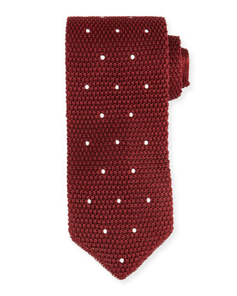 Dot-Print Knit Tie, Red