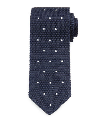 Knit Dot Silk Tie, Navy