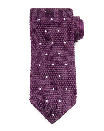 Knit Dot Silk Tie, Wine