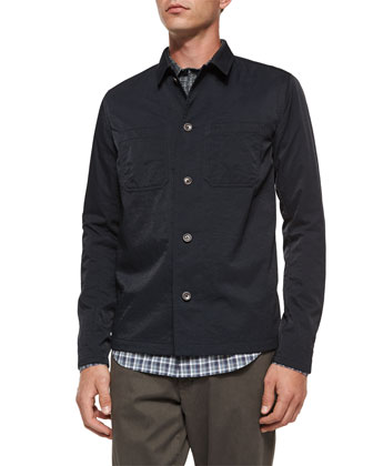 Tech Chest-Pocket Utility Shirt Jacket & Multi-Plaid Woven Degrade Shirt