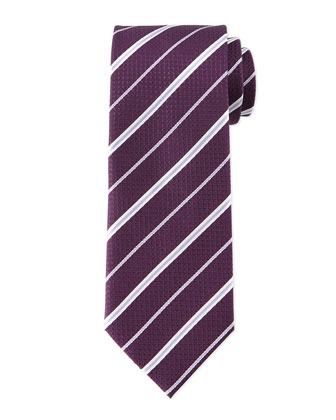 Striped Honeycomb-Pattern Tie, Plum/Lilac