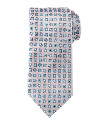Circle and Square Medallion Tie, Pink/Blue