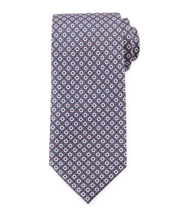 Circle Pattern Silk Tie, Pink