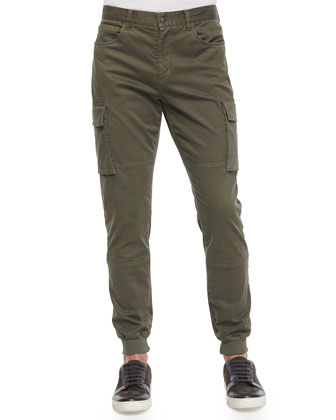 Twill Knit Cargo Jogger Pants, Green
