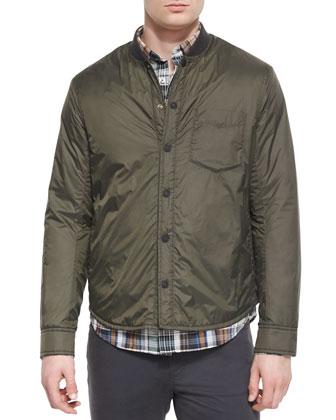 Lightweight Nylon Shirt Jacket, Yarn-Dyed Plaid Long-Sleeve Shirt, ...
