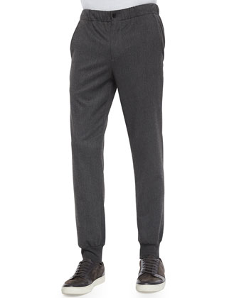 Lux Blend City Stretch-Knit Jogger Pants, Charcoal