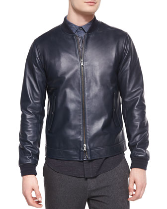 Leather Bomber Jacket, Colorblock Long-Sleeve Shirt & Denim Jogger Pants ...
