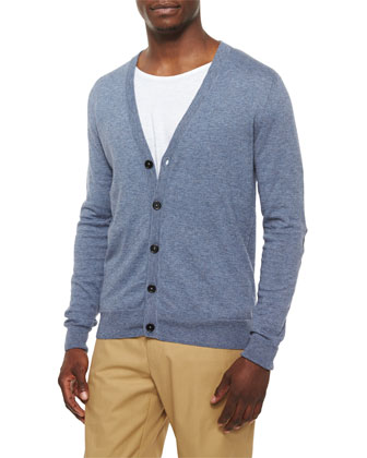 Cotton-Wool Cardigan with Elbow Patches, Denim