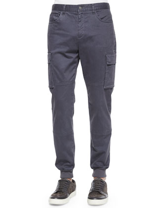 Stretch-Twill Cargo Jogger Pants, Gray