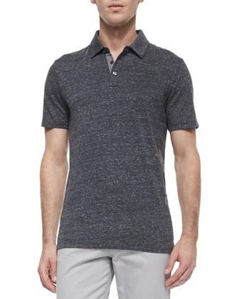 Jasper Short-Sleeve Jersey Polo Shirt, Black