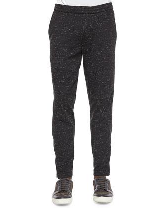 Speckled Moto Sweatpants, Black