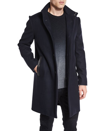 Melton 2-in-1 Wool Jacket, Cashmere-Blend Dip-Dye Crewneck Sweater, Stretch ...