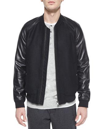 Leather-Sleeve Bomber Jacket, Black