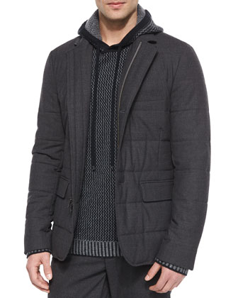 Quilted Zip-Up Blazer, Dark Gray