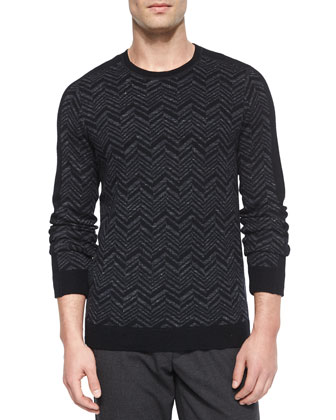 Chevron-Print Crewneck Sweater, Charcoal