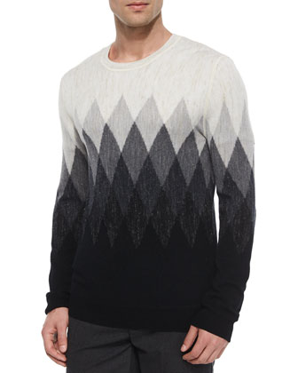 Ombre Diamond-Print Wool Sweater, Black