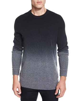 Cashmere-Blend Dip-Dye Crewneck Sweater, Black