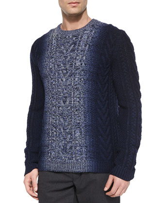 Degrade Cable-Knit Crewneck Sweater, Blue