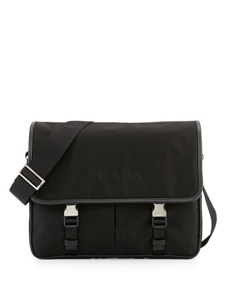 Men's Large Nylon Messenger Bag, Black