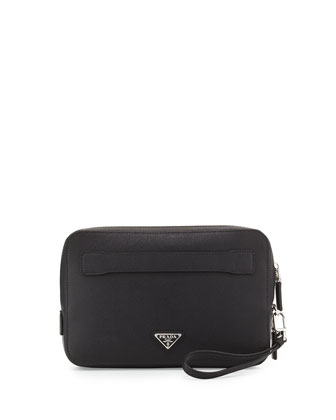 Saffiano Men's Clutch Bag, Black (Nero)