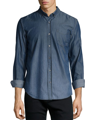 Ombre Button-Down Jean Shirt, Indigo